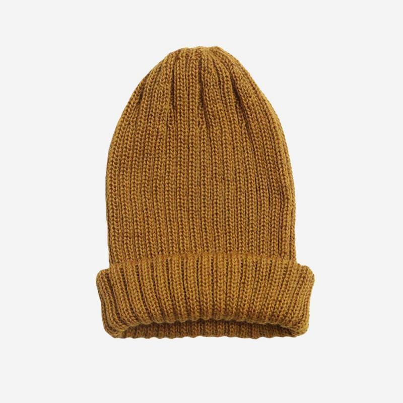 Mütze Wolle ocker