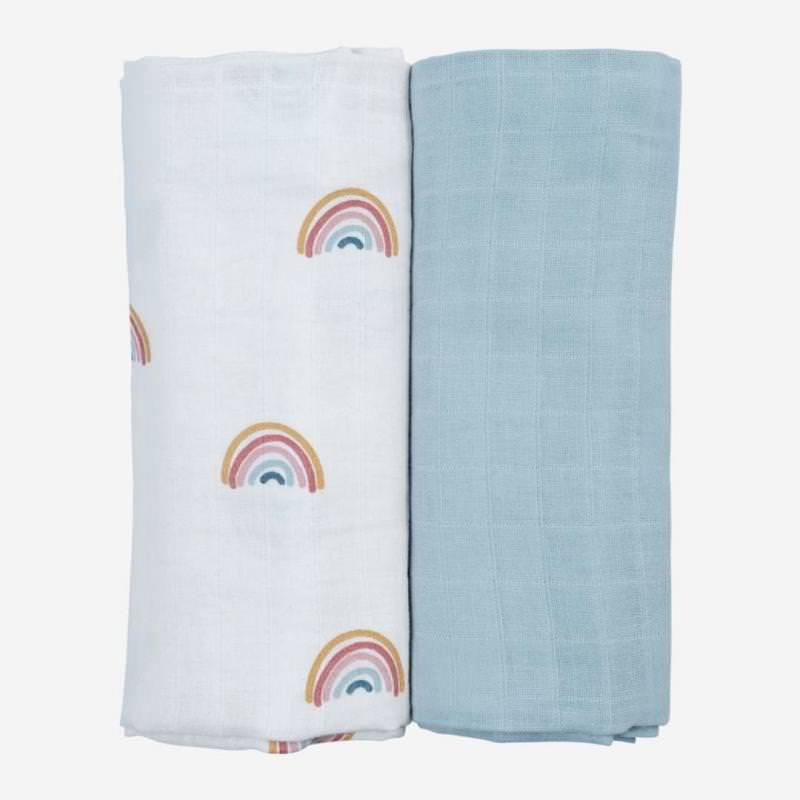 Swaddle Musselin Tuch 2-Pack Rainbow