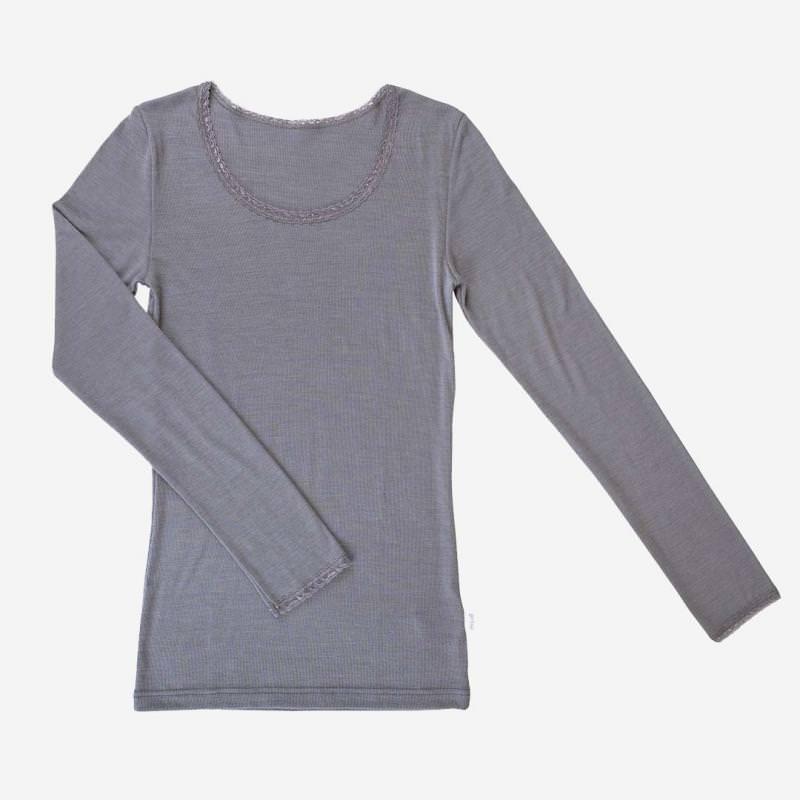Damen Spitzen Unterhemd Wolle/Seide
