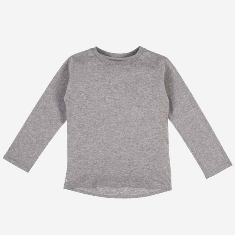Long Sleeve Baumwolle grau meliert