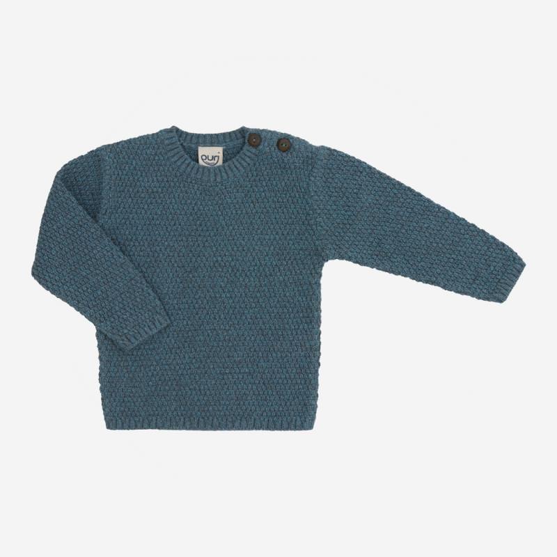 Kinder Pullover Struktur von Puri Organic aus Bio-Baumwolle und Wolle in blaumelange