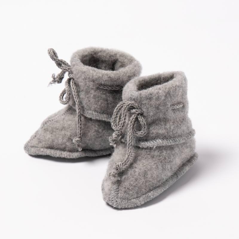 Baby Fleece Schühchen von Engel aus Wolle in hellgrau melange