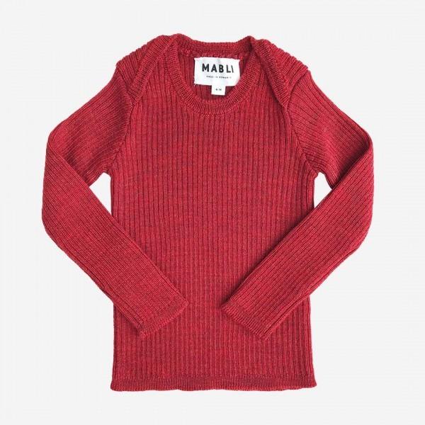 Pullover Skinny Rib Merinowolle madder