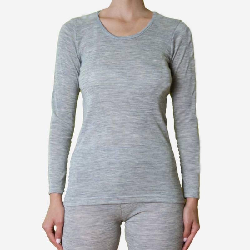 Damen Shirt grau Wolle/Seide