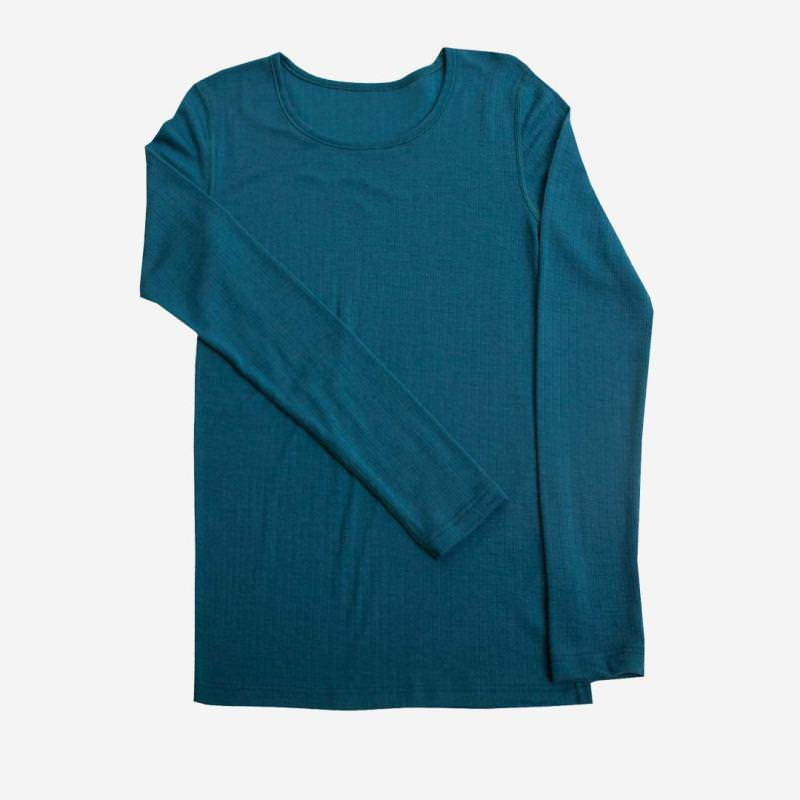 Damen Shirt Merinowolle petrolblau