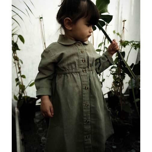 Kleid Leinen CLEMATITE oil green