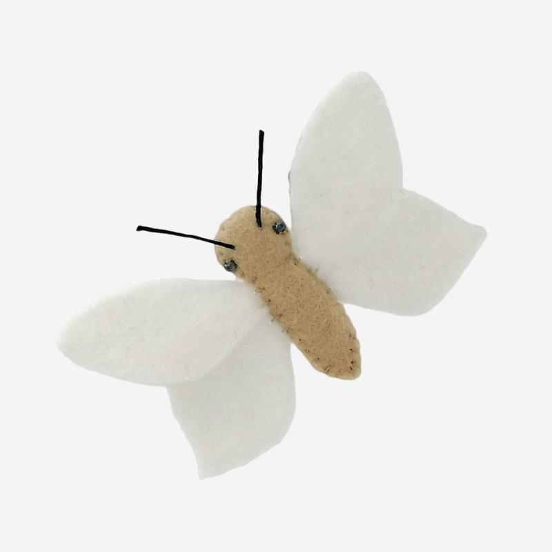 Kleine Filz Freunde Schmetterling weiß