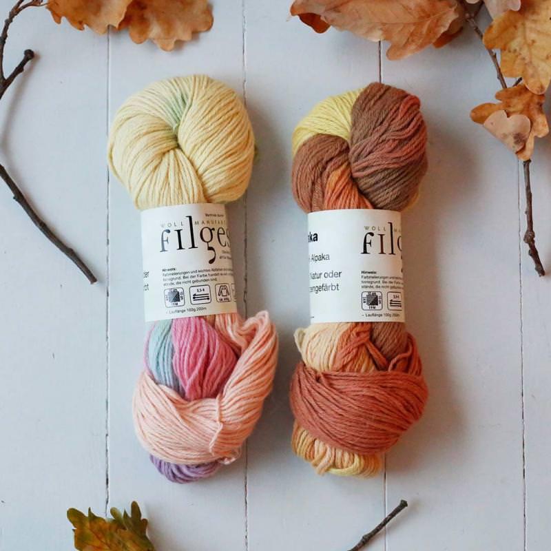 Strickwolle Alpaka pflanzengefärbt multicolor