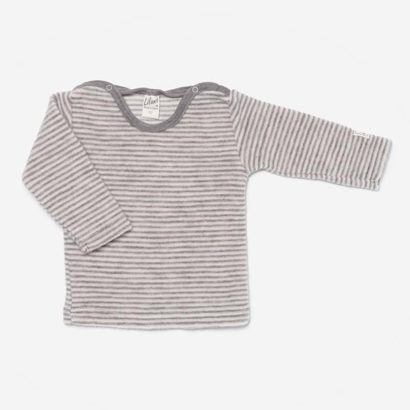 Shirt Ringel Wollfrottee-Plüsch grau