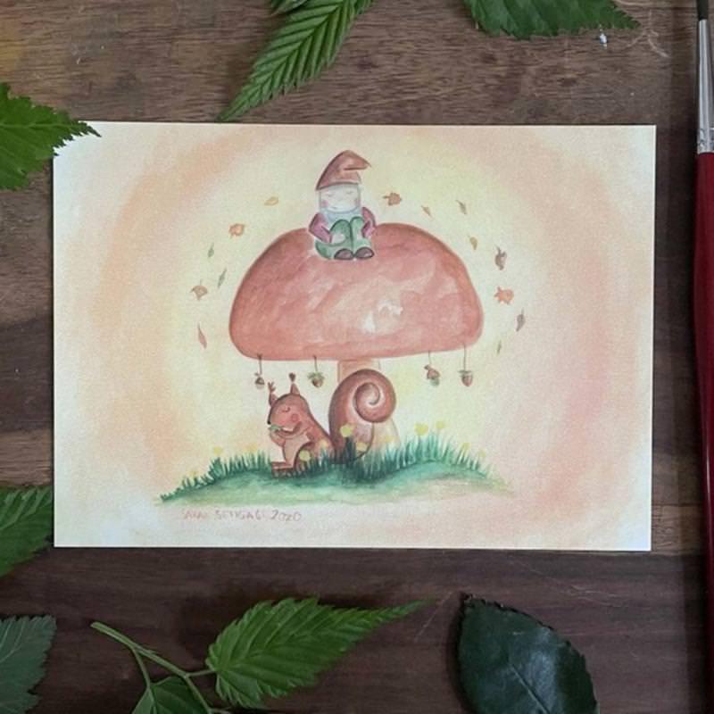 """Postkarte """"Steinpilz"""" von Sarah Settgast in DIN A6"""