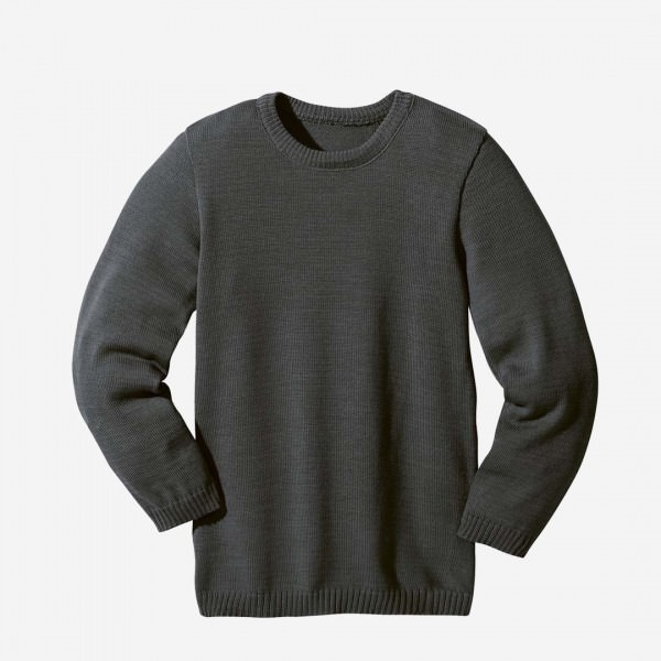 Basic Pullover Wolle anthrazit