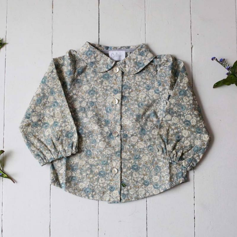 Bluse von Selana aus Bio-Baumwolle mit Blumenmuster