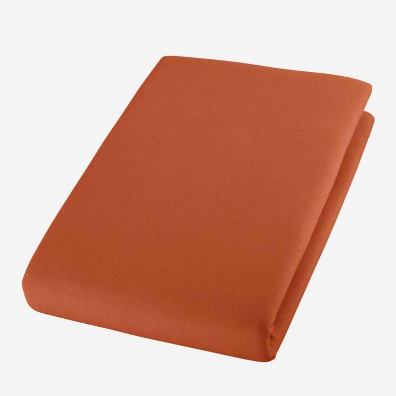 cotonea jersey bio baumwolle spann bett laken tuch spannbettlaken terra rost orange rust