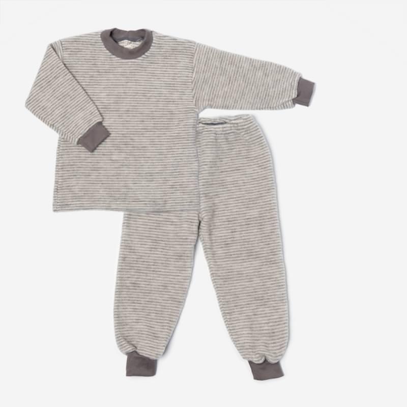 Schlafanzug Wollfrottee Plüsch grau Ringel