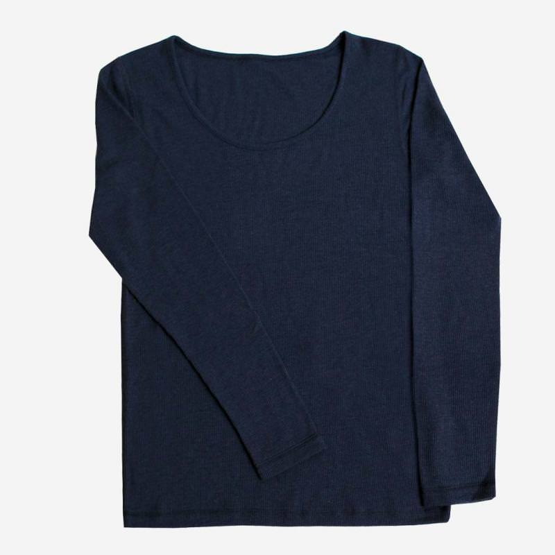 Damen Unterhemd Wolle/Seide blau