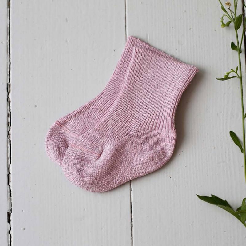 Babysocken Seide dusty pink