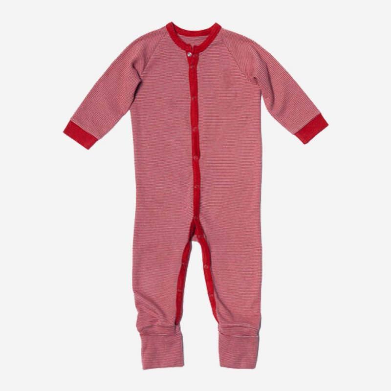 Baby einteiliger Schlafanzug aus Bio-Baumwolle von Living Crafts in rot Ringel