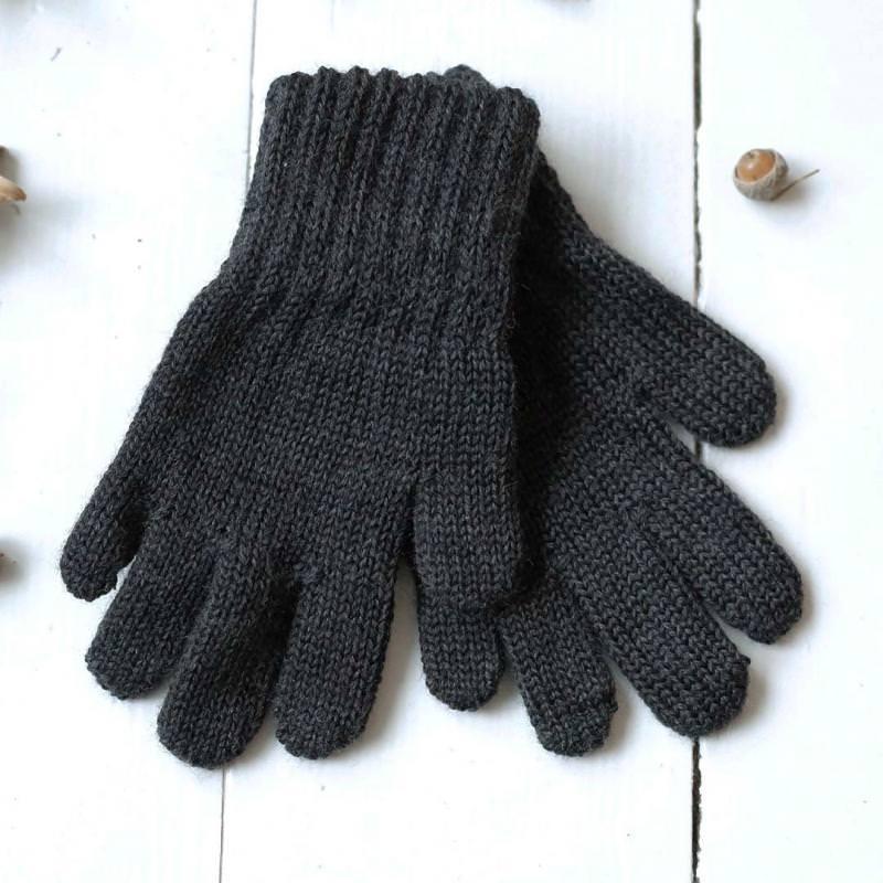 Finger Handschuhe Merinowolle carbon