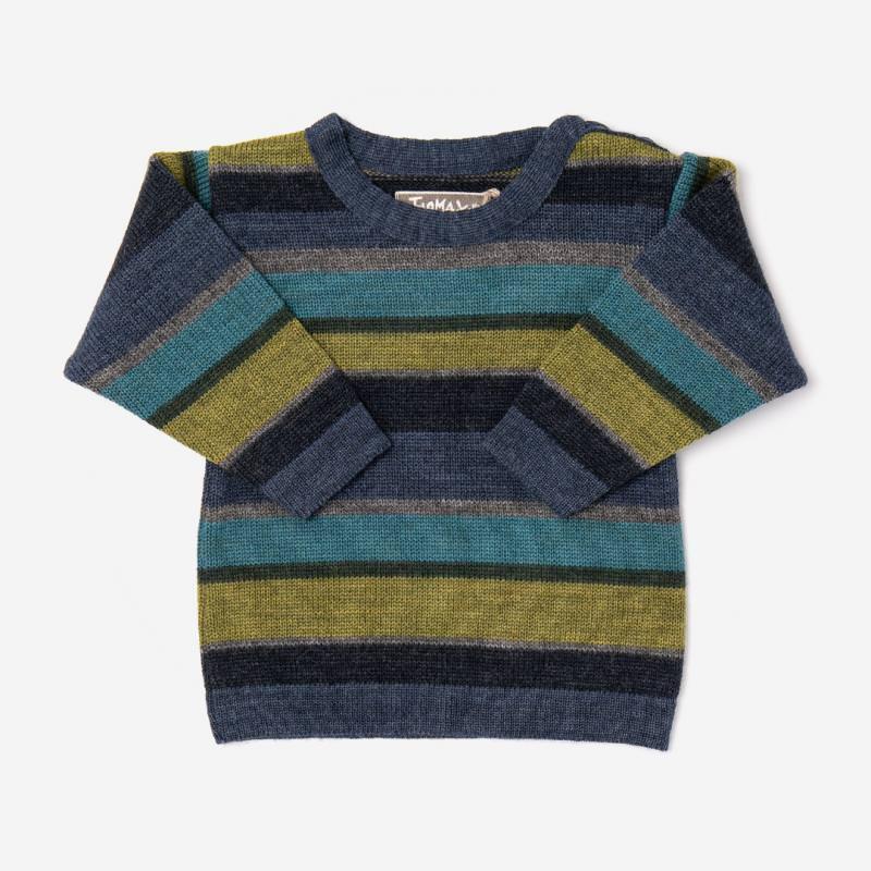 Gestreifter Kinder Pullover Arco aus Wolle von Flomax in jeans/bunt