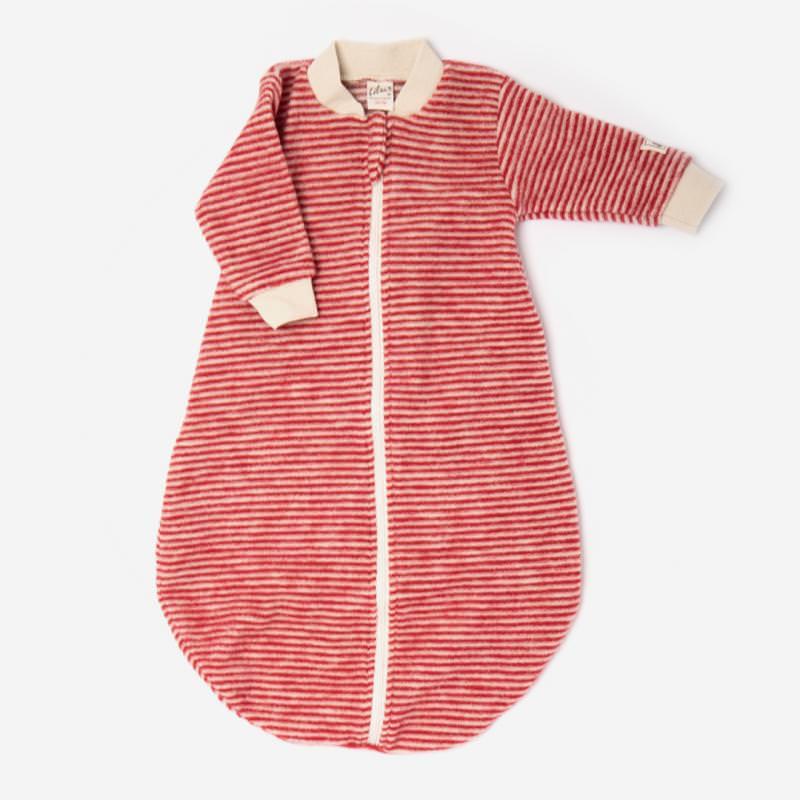 Baby Schlafsack von Lilano aus Wollfrottee Plüsch in Ringel rot 1