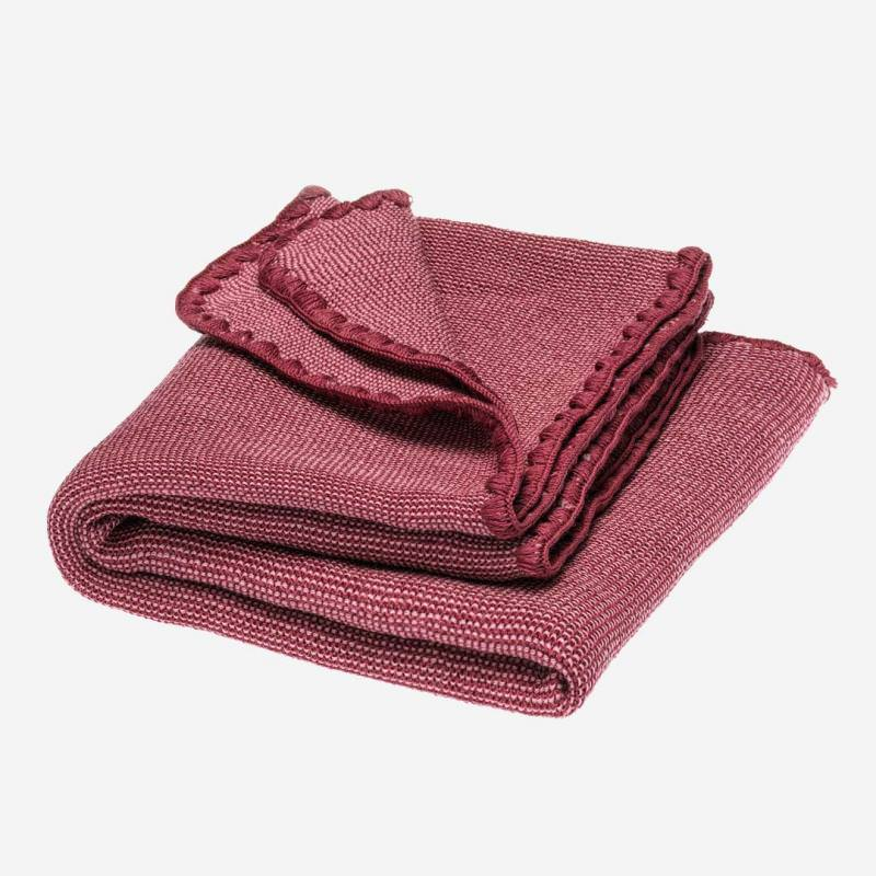 Melange Sommer Wolldecke rosa-wildbeere
