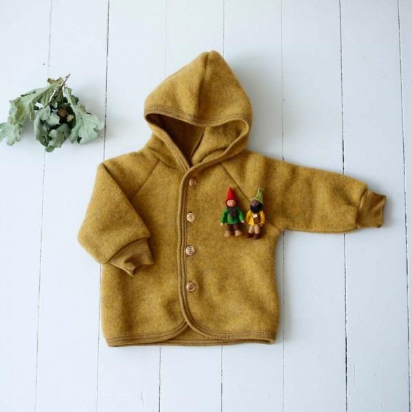 Baby Wollfleece Kapuzenjacke safran