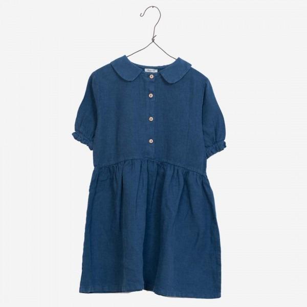 Kleid aus Leinen denimblau