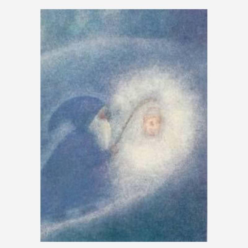 Postkarte Zwerg mit Laterne