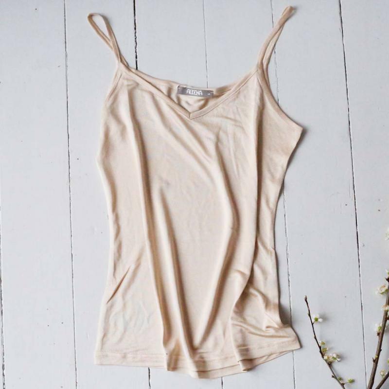 Trägerhemd Seide nude