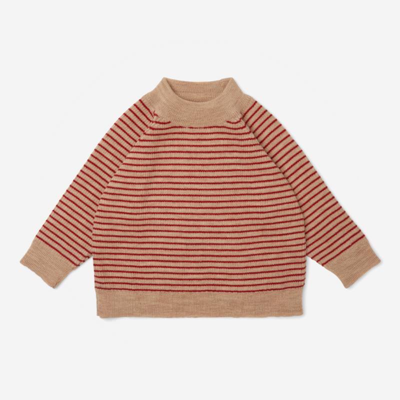 Geringelter Kinder Pullover Blouse MEO von Konges Sløjd aus Merinowolle in true red with stripe