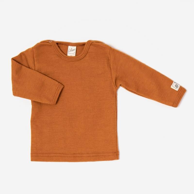 Baby Shirt aus Wolle/Seide von Lilano in curry 1