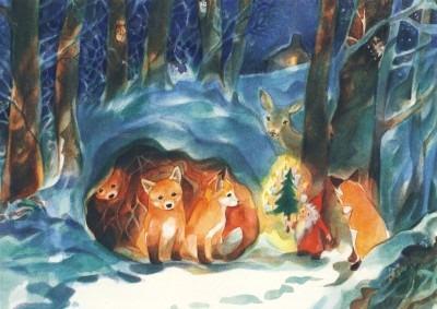 Postkarte Weihnachten im Wald