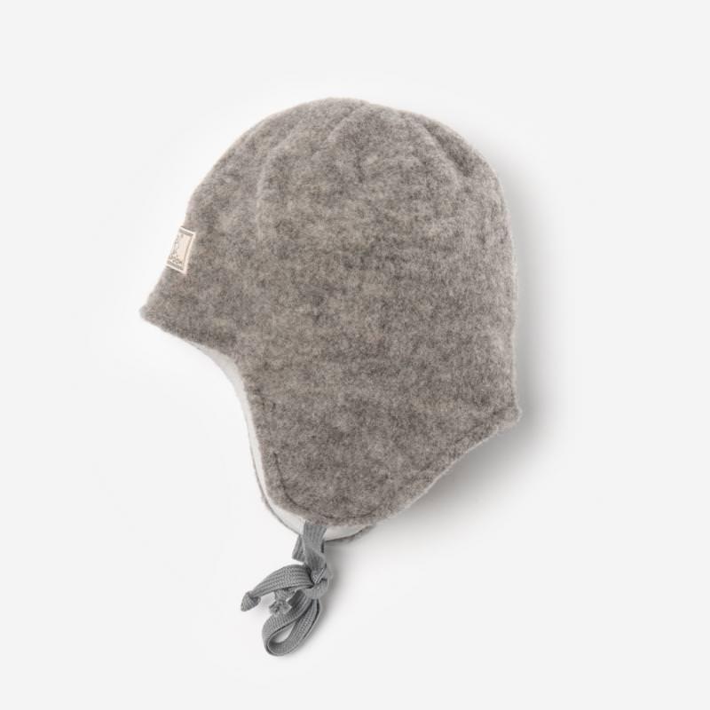 Kinder Mütze zum Binden Jack Wollfleece von Pickapooh in grau