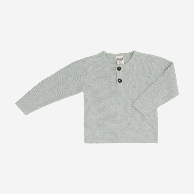 Pullover Henley Baumwolle/Leinen salbei