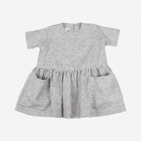 Pocket Dress Stripe Leinen