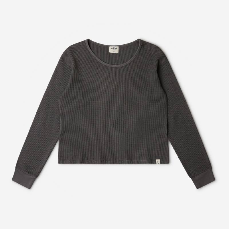 Damen Basic Longsleeve Langarmshirt von Matona aus Bio-Baumwolle in graphite