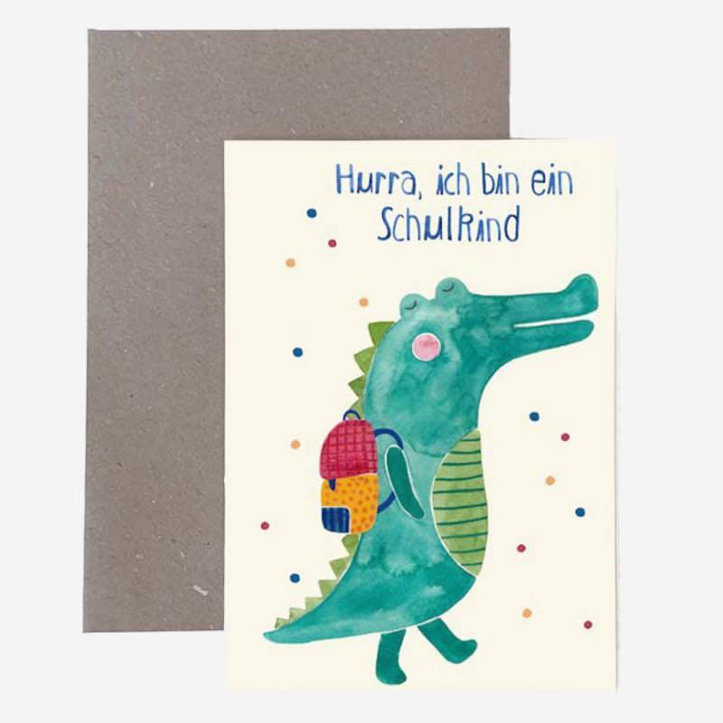 """Grußkarte mit Umschlag """"Schulkind"""" Krokodil"""