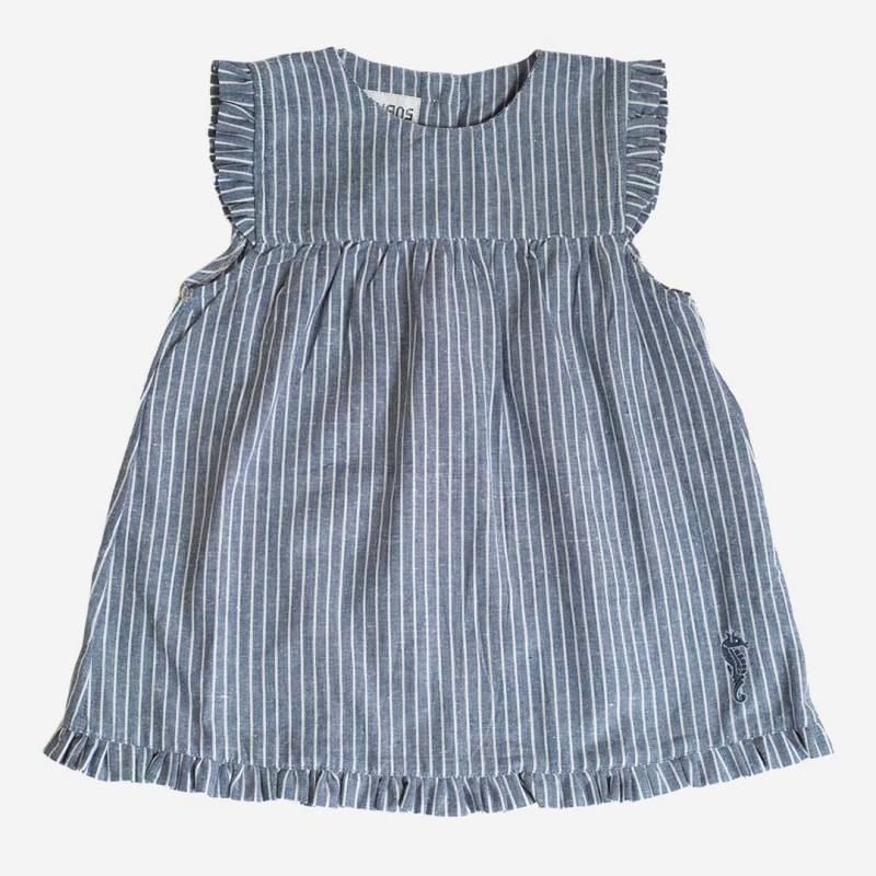 Sommerkleid mit Flügelarm blau/weiß