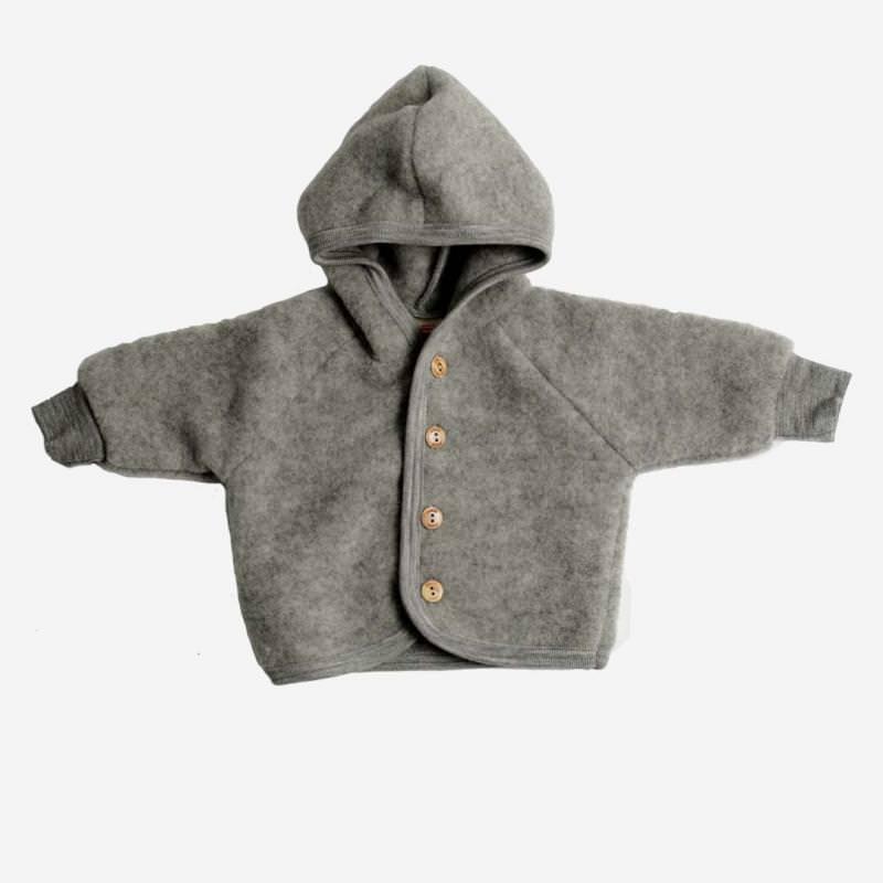 Baby Wollfleece Kapuzenjacke grau
