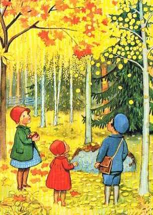 Postkarte Oktober (Beskow)