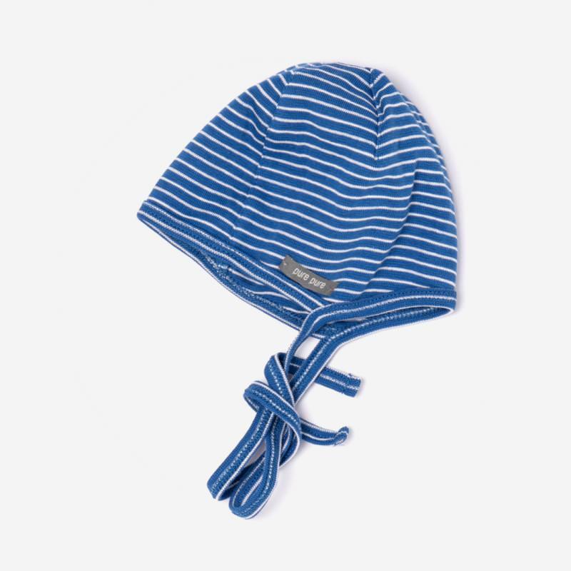 Häubchen Baumwolle Ringel blau