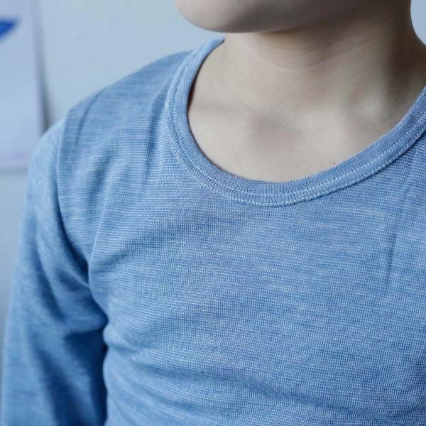 Unterhemd Wolle/Seide jeansblau