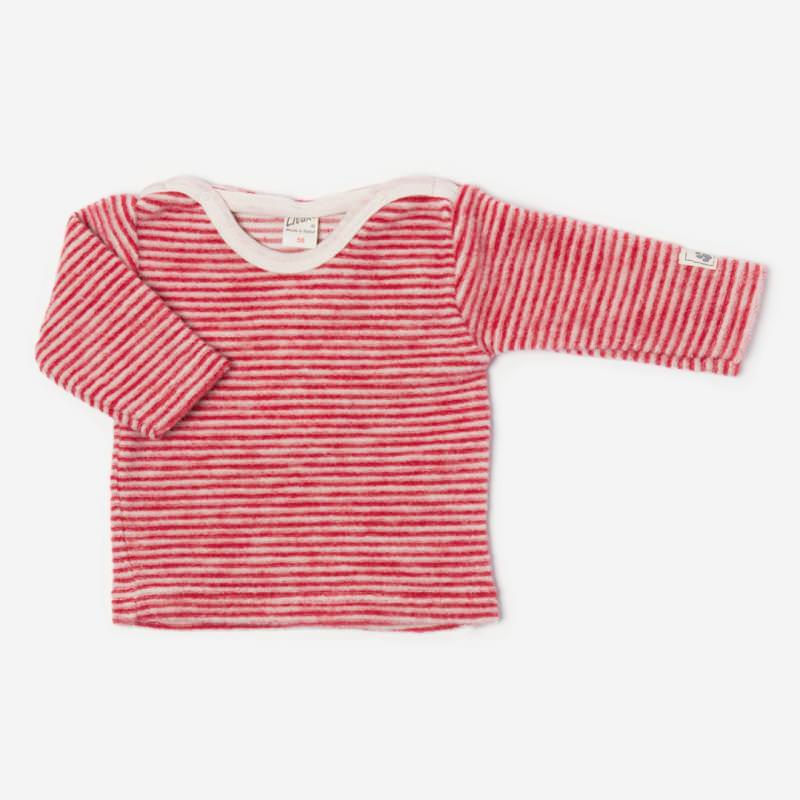 Shirt Ringel Wollfrottee-Plüsch rot