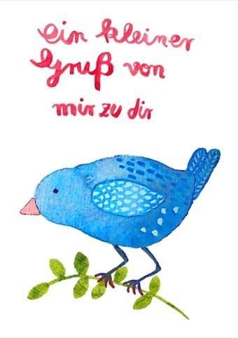 """Postkarte """"Ein kleiner Gruß"""" - Vogel"""