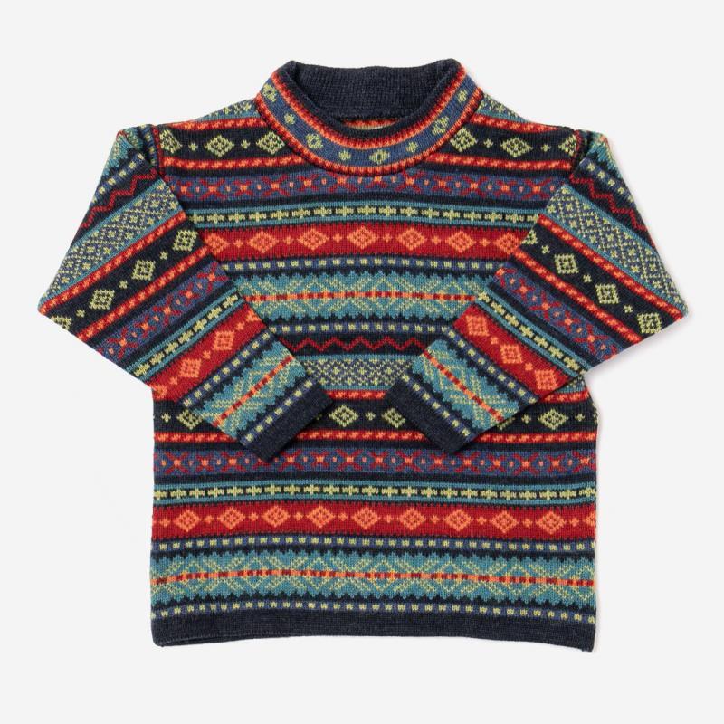 Kinder Pullover mit Stehkragen Hendrik aus Wolle von Flomax in nachtblau/jeans