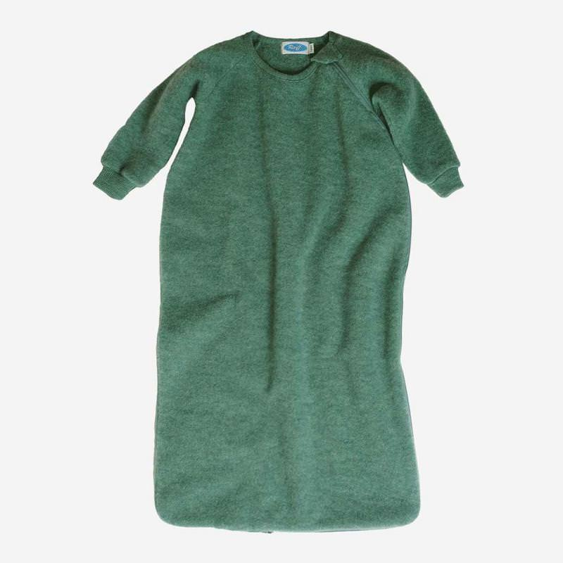 Schlafsack Wollfleece mit Arm salbei