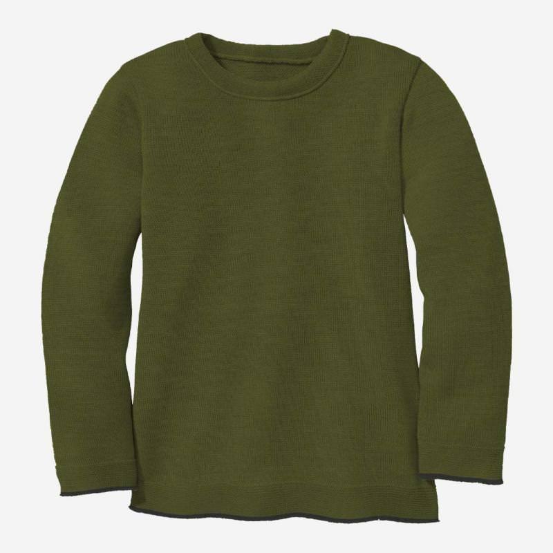 Kinder Strick-Pullover von Disana aus Wolle in oliv