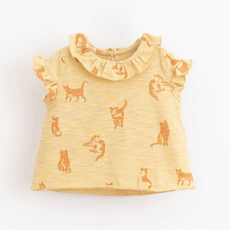 Shirt kurzarm mit Volants straw gelb