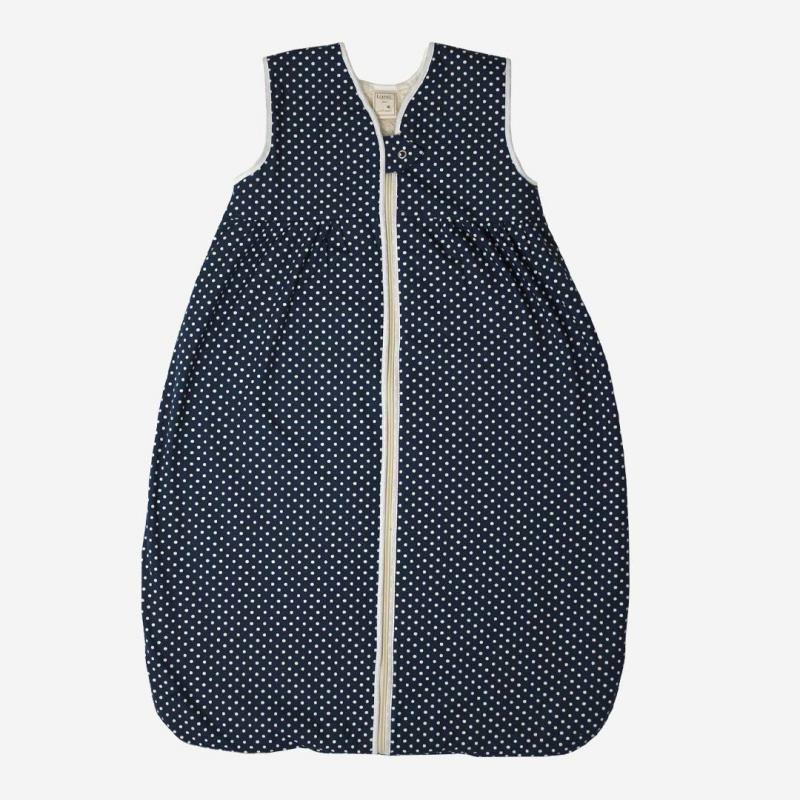 Schlafsack Plüsch Baumwolle Punkte dunkelblau