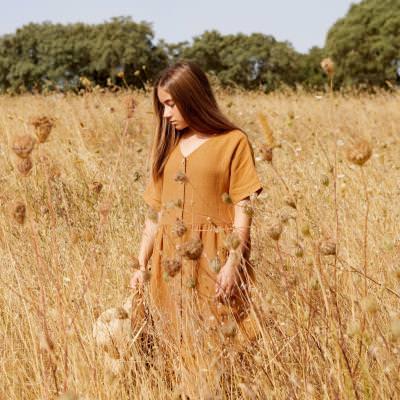 Damen Kleid Leinen hazel gelb